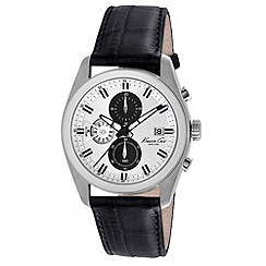 Kenneth Cole - Men's silver dial black leather strap
