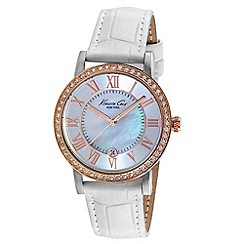 Kenneth Cole - Ladies mother of pearl dial white leather strap