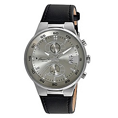 Kenneth Cole - Men's grey dial black leather strap