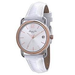 Kenneth Cole - Ladies white dial white leather strap