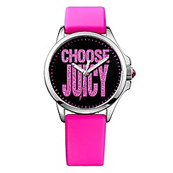 Juicy Couture - Ladies pink silicone strap pave logo watch