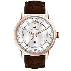 Tommy Hilfiger - Gent's white leather strap watch