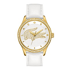Lacoste - Ladies gold plated silver white strap watch