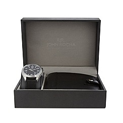RJR.John Rocha - Designer men's black wallet and watch gift set