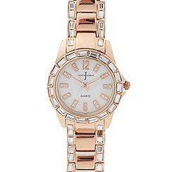 J by Jasper Conran - Designer ladies Rose gold plated crystal bezel bracelet watch