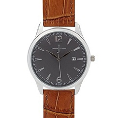 J by Jasper Conran - Men's designer brown leather croc strap watch
