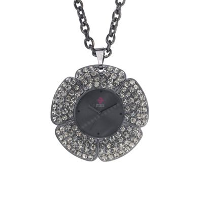 EB by Erickson Beamon Women's dark grey flower pendant watch