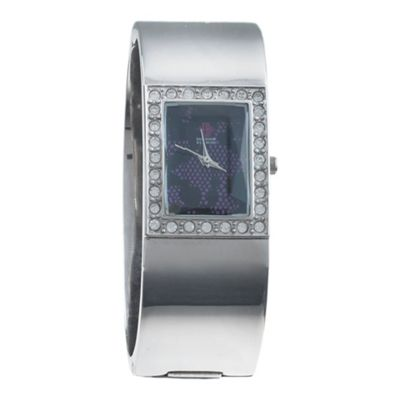EB by Erickson Beamon Women's silver rectangular face bangle watch