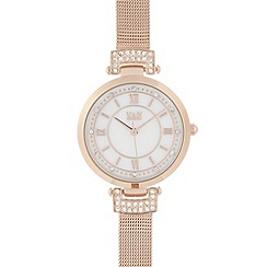 Van Peterson 925 - Ladies rose gold mesh crystal watch