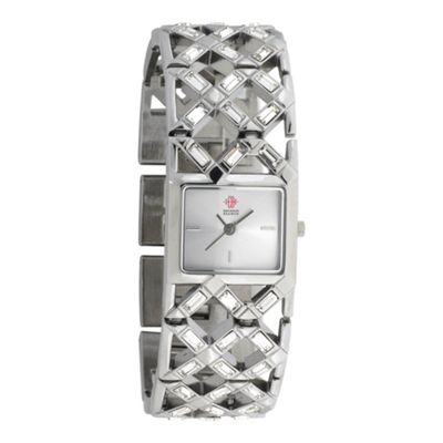 EB by Erickson Beamon Women's silver coloured diamante lattice bracelet watch