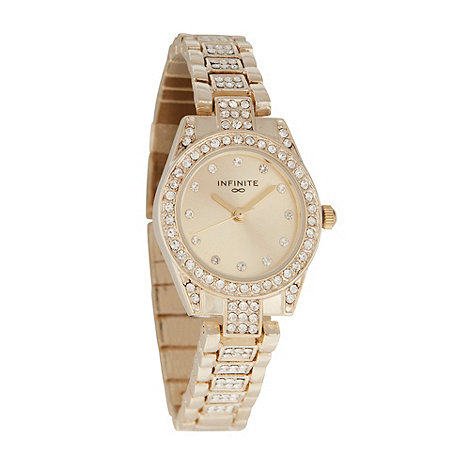 Infinite - Ladies gold round case encrusted bracelet watch