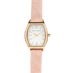Bailey & Quinn - Ladies pale pink suede tonneau watch