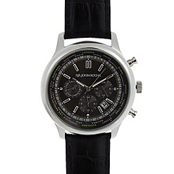 RJR.John Rocha - Designer mens black world face leather strap watch