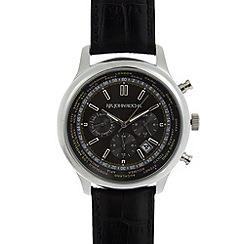 RJR.John Rocha - Designer mens black world face leather strap watch