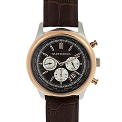 RJR.John Rocha - Designer mens brown world face leather strap watch