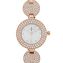 J by Jasper Conran - Ladies designer rose gold plated pave disc bracelet watch