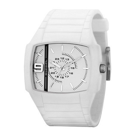 Diesel - Men+s  white rectangular dial silicone strap watch