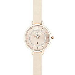 J by Jasper Conran - Ladies designer pale pink Swarovski dial watch