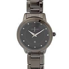 J by Jasper Conran - Designer ladies Black crystal metal link watch