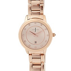 J by Jasper Conran - Designer ladies Rose gold plated crystal link watch