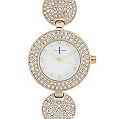 J by Jasper Conran - Ladies designer gold plated pave disc bracelet watch