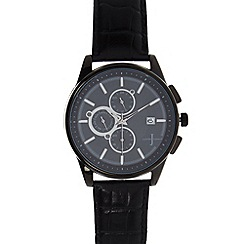 J by Jasper Conran - Designer men's black leather strap chronograph watch