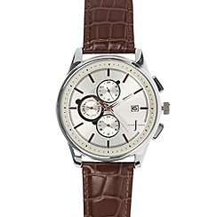 J by Jasper Conran - Designer men's brown leather strap chronograph watch