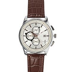 J by Jasper Conran - Designer men's brown leather strap chronograph watch