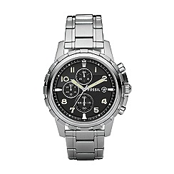 Fossil - Men's  silver round face multi dial bracelet watch