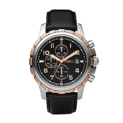 Fossil - Men's  black round face chronological watch