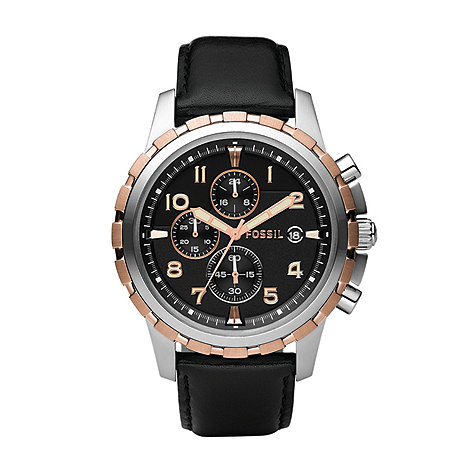 Fossil - Men+s  black round face chronological watch