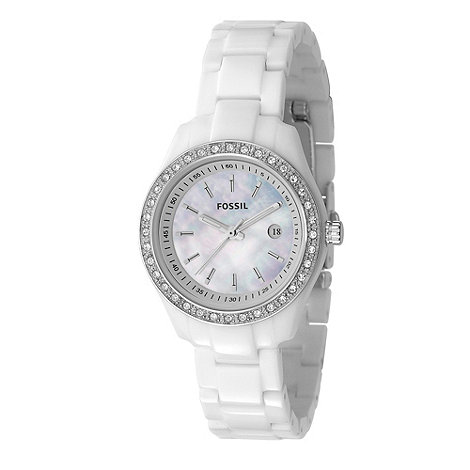 Fossil - Ladies white round face bracelet watch