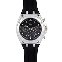 Jeff Banks - Designer men's black silicone chronograph watch