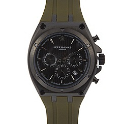 Jeff Banks - Designer men's khaki silicone chronograph watch