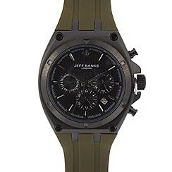 Jeff Banks - Designer men's khaki silicone chronograph watch