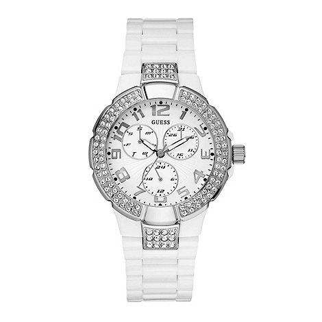 Guess - Ladies white round large face watch