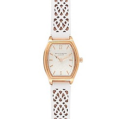 Bailey & Quinn - Ladies white laser cut strap watch