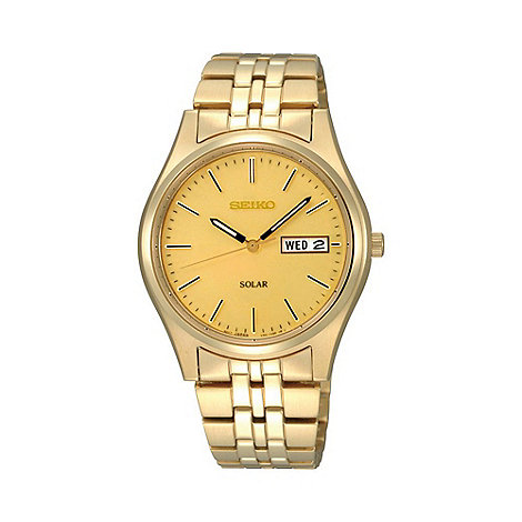 Seiko - Men+s  gold round face day and date bracelet watch sne036p1