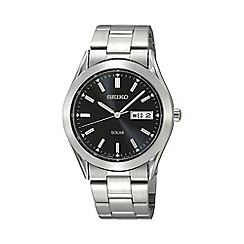 Seiko - Men's  silver round black face solar bracelet watch sne039p1