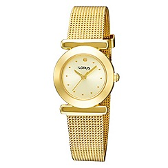 Lorus - Ladies gold round dial mesh bracelet watch.