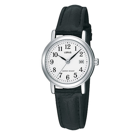 Lorus - Ladies black round white dial watch
