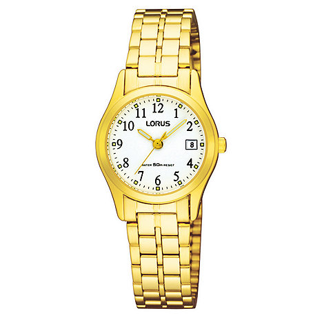 Lorus - Ladies gold and white dial bracelet watch