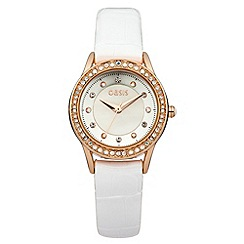 Oasis - Ladies white strap watch