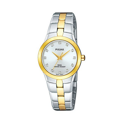 Pulsar - Ladies multi coloured round mother of pearl dial two tone bracelet watch