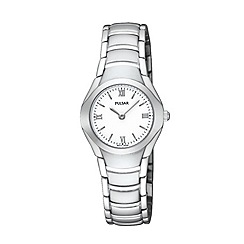 - Ladies silver coloured round white dial bracelet watch
