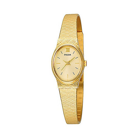 Pulsar - Ladies gold coloured oval dial bracelet watch