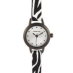 Red Herring - Black animal print skinny watch