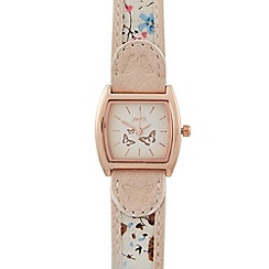 Mantaray - Ladies pale pink butterfly tonneau watch
