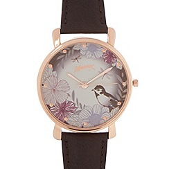 Mantaray - Ladies brown strap large butterfly printed face watch