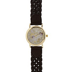 Mantaray - Ladies brown plaited strap watch